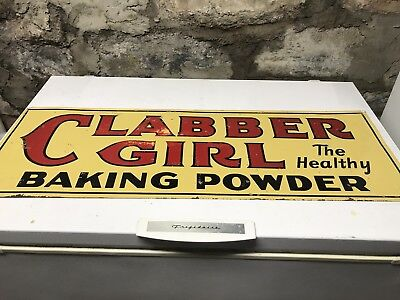 VINTAGE 1920'S CLABBER GIRL HEALTHY BAKING POWDER 2 Sided TIN SIGN (A.C.CO.71-A)