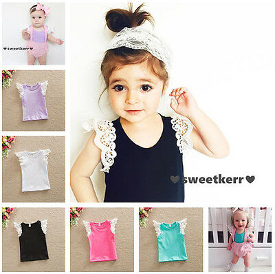 UK STOCK Toddler Kids Baby Girls T-shirt O-Neck Tops Lace Short Sleeve Blouse yu