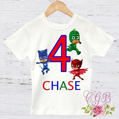 Pj mask birthday shirt, boy or girl pj mask shirt