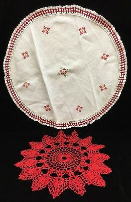 Round Table Crocheted Doily 15 Point Star Shaped Red White Lot of 2