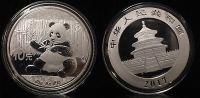 2017 China Silver Panda (30 g) 10 Yuan -- BU in Original Capsule--HAND PICKED A+