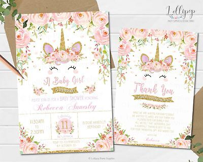 Unicorn Pink Floral Baby Shower Invitations Card Stock Invites Girl
