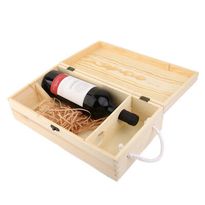35*19*10cm Dual Bottle Wood Wine Box Carrier Crate Case Great Gift Decor