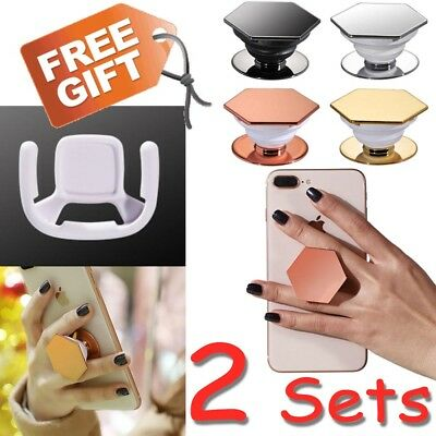 2 Sets Cell mobile phone stand wall holder car mount earphone wrap grip Hex pop