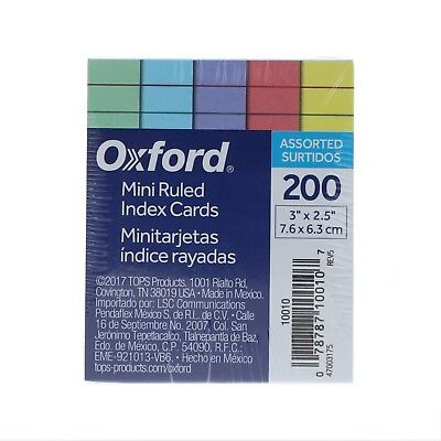 Oxford Half-Size Index Cards, Ruled, 3in. x 2 1/2in., Assorted Colors 200 ea