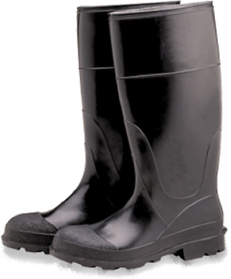 "Industrial PVC Black Over The Sock Knee Boots, Plain Toe 16"", Size 9"
