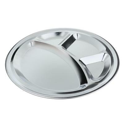 Round 4 Compartment Stainless Steel Divided Dish Child Dinner Plate Tray