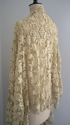 Heavy antique Irish crochet lace skirt flounce