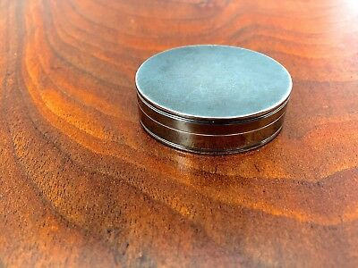 White Metal Oval Vinaigrette: Marked C.M to Lid and Base