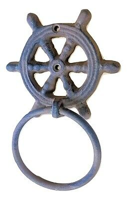 "Cast Iron Ships Wheel Towel Ring 4"" Helm Nautical Decor Bathroom Kitchen"