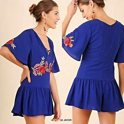 Umgee Romper Size XL S M L Cobalt Floral Embroidered Free Boho People Womens New