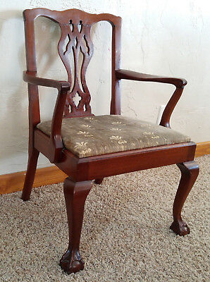 Antique Vtg Chippendale Style Claw Foot Mahogany Salesman Sample Chair & 2 Seats