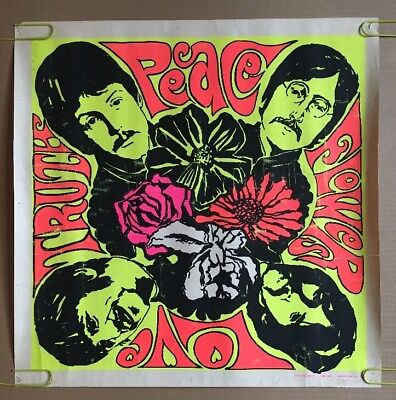 The Beatles Mandala Vintage Blacklight Poster Truth Peace Flower Love 60s Pin Up