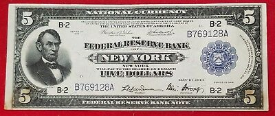 1918 $5 Federal Reserve of New York National Currency VF-XF - Stains SCARCE