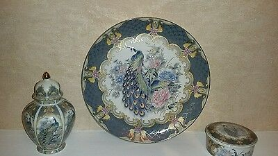Imari Ware Japan  Plate Peacock Bird Peony Flowers Design  & Jar & Sugar Jar