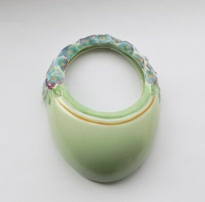 Art Deco Burleigh Ware, Pottery Flower Handle Basket, Wall Pocket Very Pretty