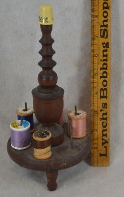 antique sewing stand thread thimble turned hand made Victorian  original