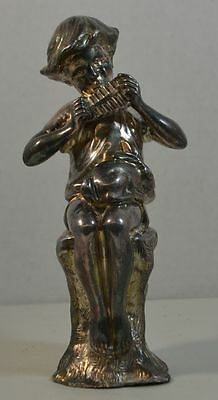 Antique White Bronze Figure of Boy and Rabbit