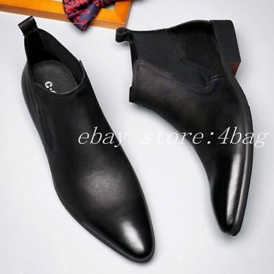 Men's Pointy Toe Pull On Chelsea Real Leather Ankle Boots Business Formal Shoes