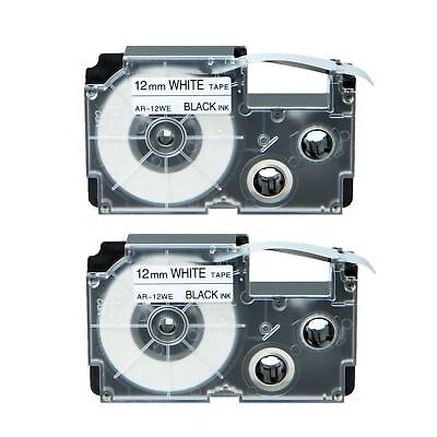 2PK XR-12WE Black on White Label Tape for Casio KL-780 750B 7200 1500 750BA 1/2""