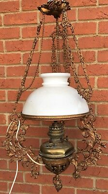 Antique Victorian Hanging Oil Lamp Electric Lamp Cast Metal White Glass Shade