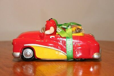 M&M Red Ceramic Car Dish Featuring Red and Green