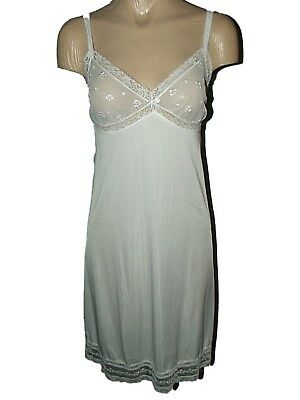 RETRO VTG 50's ST MICHAEL NYLON & LACE FEMININE FULL SLIP DRESS PIN UP SZ 36