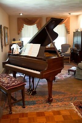 Antique Beautiful Baby Grand Piano Kranich and Bach with Needlepoint bench