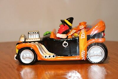 Orange M&M Halloween Ceramic Car Candy Dish Featuring Red and Green