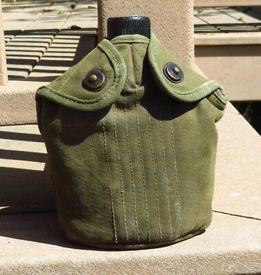 Korean War US MILITARY USMC MARINE CORPS CANTEEN COVER 1952 Collette w/ Cup