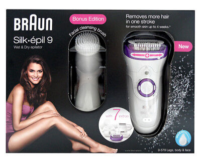 Braun 9-579 Silk-épil 9 Wet & Dry Epilator Body & Face incl. Brush NEW AND