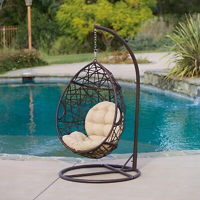 Outdoor Hanging Chair Egg Patio Furniture Teardrop Wicker Lounge Retro Stand New