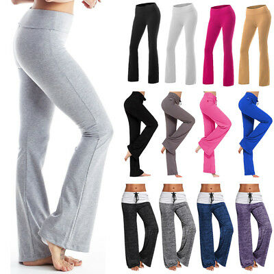 Women Foldover YOGA Pants Cotton Fitness Workout Comfy Lounge Long Wide Boot Leg