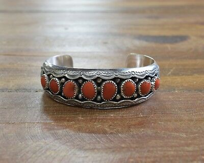 ec6f803544c4 Navajo Coral Sterling Silver Shadowbox Cuff Bracelet by Wilbur Musket