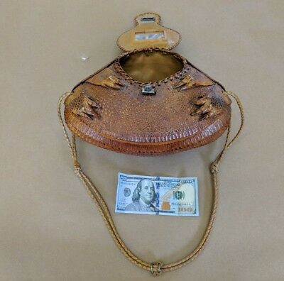 Old Vintage REAL Tanned Armadillo Skin Hide Purse Bag with Mirror Antique