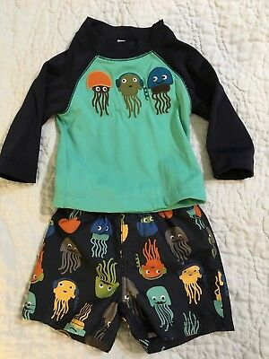 GYMBOREE Baby Boy Swim Set Lot Trunks Rashguard swimsuit size 6-12 months