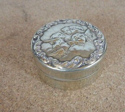 Antique EPNS Round Pill Box  Repose Cherub Design 4.5 cm diameter. div1 box 1