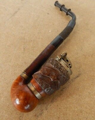 Vintage German Black Forest Rosewood pipe Stag carving Cherry wood stem