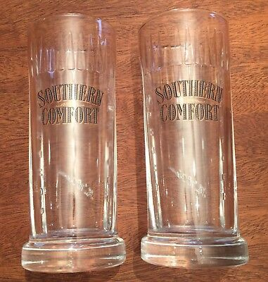 """(2) Southern Comfort 6"""" Glass Glasses Barware Whiskey Collectible Advertising"""