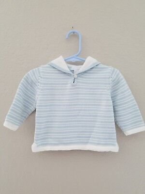 Janie and Jack Infant Boy 12-18 mos light blue and white sailor sweater