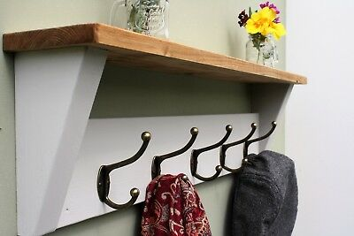 Shabby Chic Coat Rack And Shelf Solid Wood Vintage Rustic Iron Winter Grey Paint