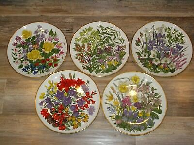 FRANKLIN PORCELAIN by  Wedgwood FLOWERS OF THE YEAR  plate collection of 5