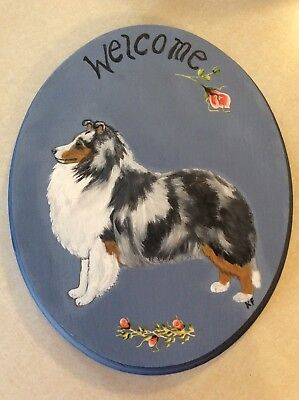 Hand Painted Sheltie Shetland Sheepdog Welcome Plaque Sign Blue Merle