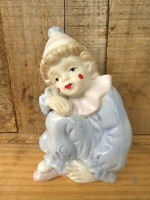Vintage retro child clown figurine statue porcelain Taiwan ornament circus 12cm