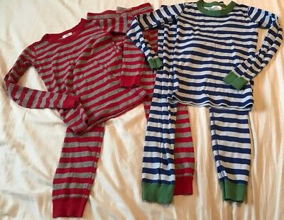 Lot of 2 Hanna Andersson Boys Blue/Green and Red Striped Size 140/10 Pajama Set