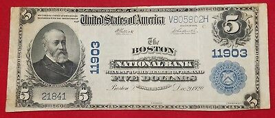 1902 $5 Boston National Bank Massachusetts National Currency Banknote Fine