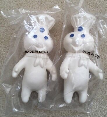 """Lot Of 2 Pillsbury Doughboy Soft Rubber 7"""" Squeeze Doll Figure 1995 Sealed Pkg"""