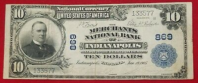 1902 $10 Merchants National Bank of Indianapolis, IN National Currency Banknote