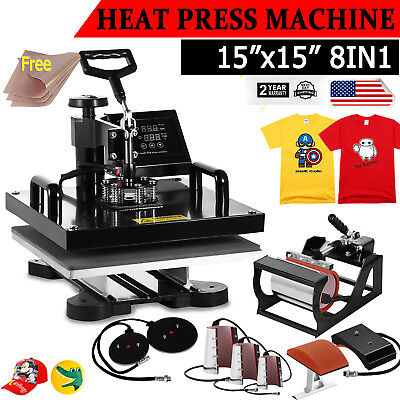 "15""x15"" 8IN1 Combo T-Shirt Heat Press Transfer Pressing Machine Cap Swing Away"