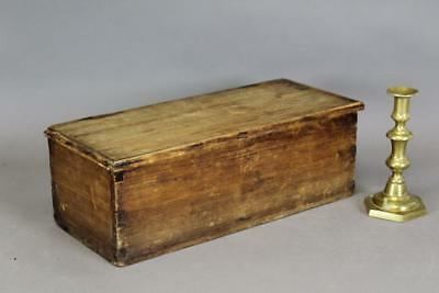 A Great 18Th C Ma Miniature Blanket Or Storage Chest In Original Attic Surface